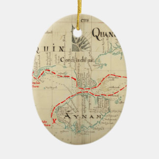 An Authentic 1690 Pirate Map (with embellishments) Christmas Tree Ornament