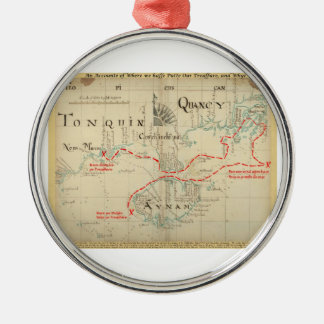 An Authentic 1690 Pirate Map (with embellishments) Christmas Ornaments