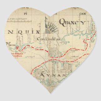 An Authentic 1690 Pirate Map (with embellishments) Heart Sticker