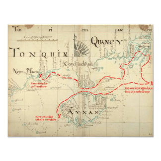 """An Authentic 1690 Pirate Map (with embellishments) 4.25"""" X 5.5"""" Invitation Card"""