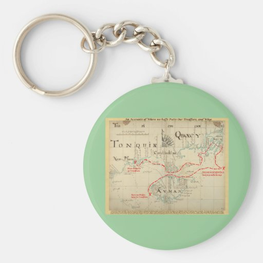 An Authentic 1690 Pirate Map (with embellishments) Key Chains
