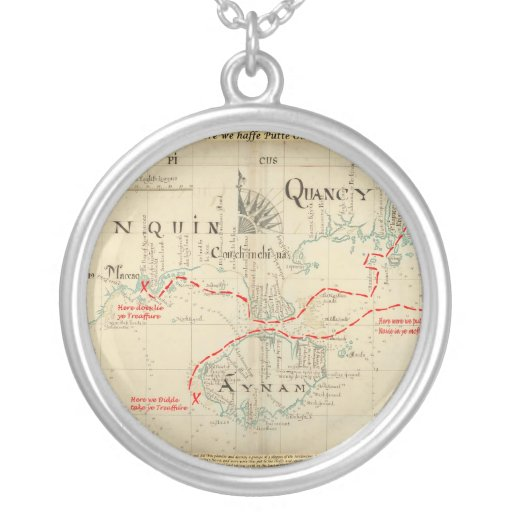 An Authentic 1690 Pirate Map (with embellishments) Custom Necklace