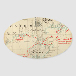 An Authentic 1690 Pirate Map (with embellishments) Oval Sticker