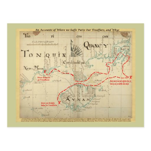 An Authentic 1690 Pirate Map (with embellishments) Post Card