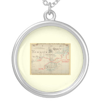 An Authentic 1690 Pirate Map (with embellishments) Round Pendant Necklace