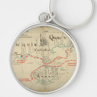 An Authentic 1690 Pirate Map (with embellishments) Silver-Colored Round Key Ring