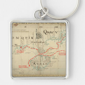 An Authentic 1690 Pirate Map (with embellishments) Silver-Colored Square Key Ring
