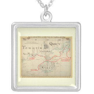 An Authentic 1690 Pirate Map (with embellishments) Square Pendant Necklace