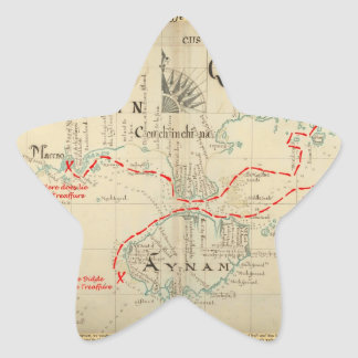An Authentic 1690 Pirate Map (with embellishments) Star Sticker