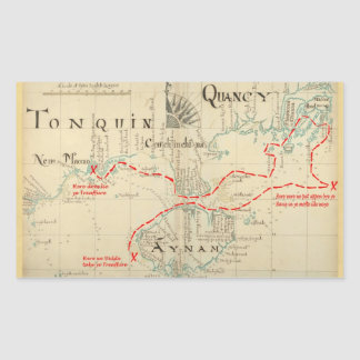 An Authentic 1690 Pirate Map (with embellishments) Rectangle Sticker