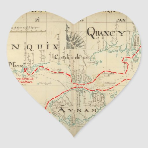 An Authentic 1690 Pirate Map (with embellishments) Heart Stickers