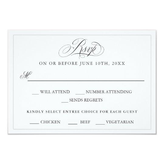 An Elegant Affair Wedding RSVP with Entree Choices Card