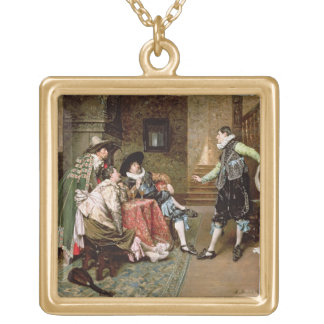 An Engaging Tale, 1894 (oil on panel) Square Pendant Necklace