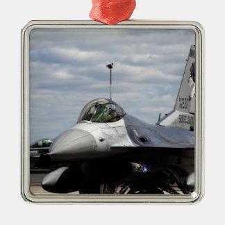 An F-16 Fighting Falcon Silver-Colored Square Decoration