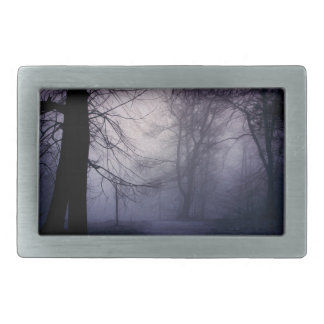 An image of a beautiful forest with fog rectangular belt buckles