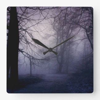 An image of a beautiful forest with fog wallclocks
