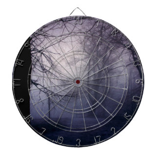 An image of a beautiful forest with fog dartboards
