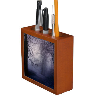 An image of a beautiful forest with fog desk organizer
