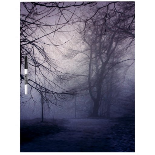 An image of a beautiful forest with fog dry erase whiteboard