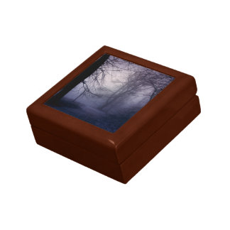 An image of a beautiful forest with fog keepsake box