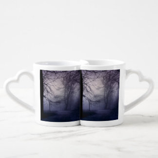 An image of a beautiful forest with fog couples' coffee mug set