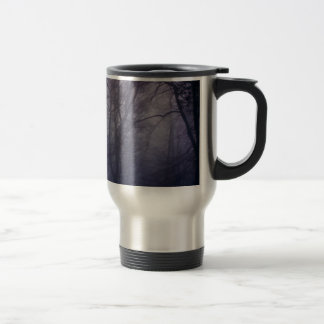 An image of a beautiful forest with fog 15 oz stainless steel travel mug