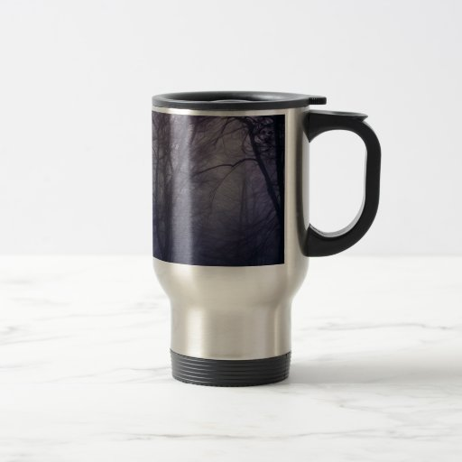 An image of a beautiful forest with fog coffee mug