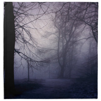 An image of a beautiful forest with fog printed napkin