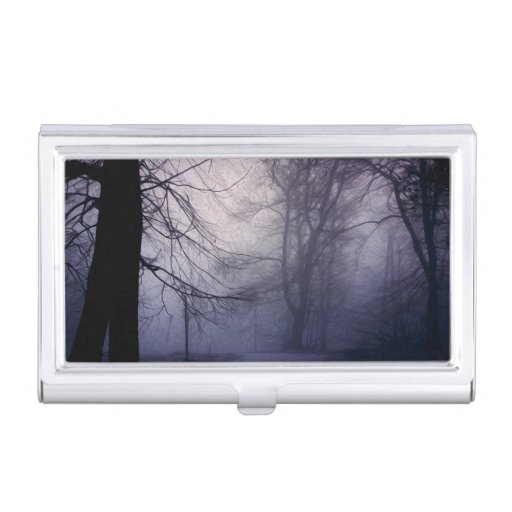 An image of a beautiful forest with fog case for business cards