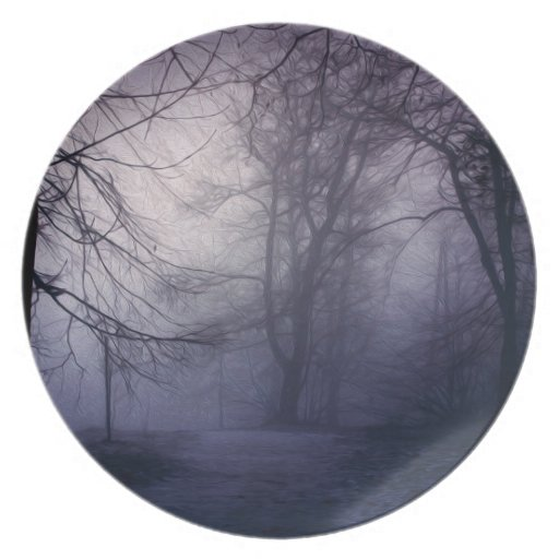 An image of a beautiful forest with fog plate