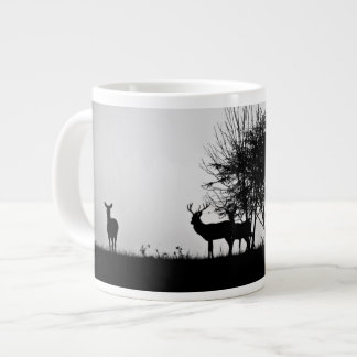 An image of some deer in the morning mist large coffee mug