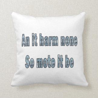 an it harm none blue texture outline pagan.png throw cushion