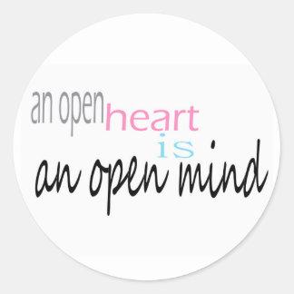 An open Heart is an open mind Classic Round Sticker