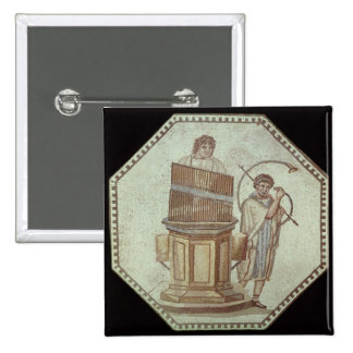 An organist and a horn player entertain 15 cm square badge