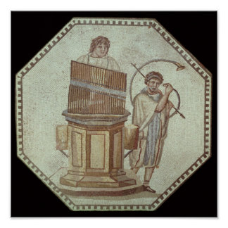 An organist and a horn player entertain poster