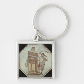 An organist and a horn player entertain Silver-Colored square key ring
