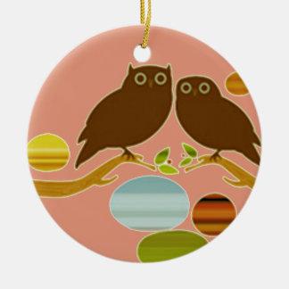 An Owl Couple Round Ceramic Decoration