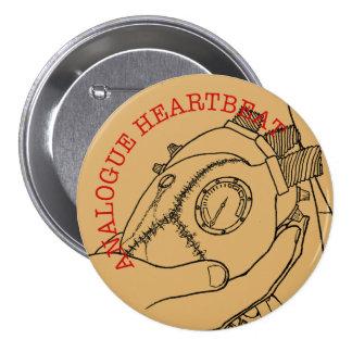 Analogue Heart Beat 7.5 Cm Round Badge