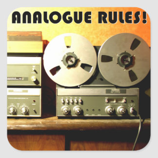Analogue rules square sticker