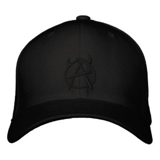Anarchy Logo Black on Black Embroidered Baseball Caps