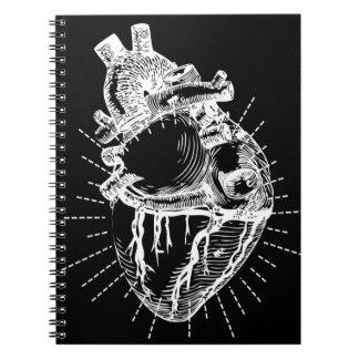 Anatomical Heart Black & White Spiral Notebook