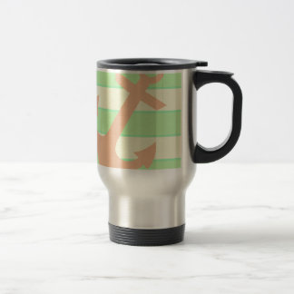 Anchor and Stripes Stainless Steel Travel Mug
