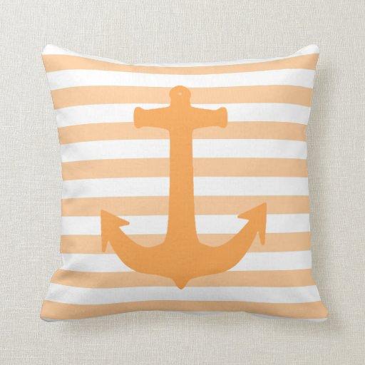 Anchor and Stripes Peach nautical Theme Throw Pillows