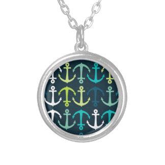 Anchor Design Round Pendant Necklace