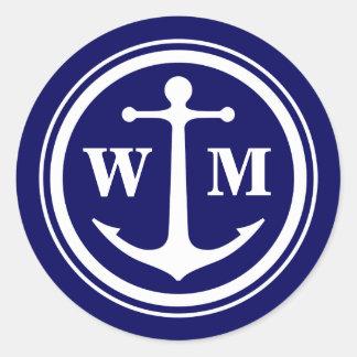 Anchor Monogram Round Sticker