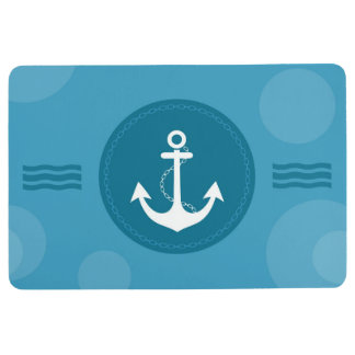 Anchor Nautical Modern Blue Floor Mat