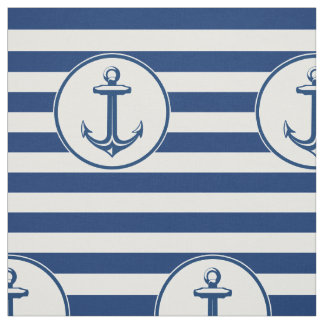 Anchor Navy Blue White Stripes Fabric