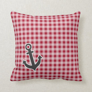 Anchor on Carmine Red Gingham; Checkered Throw Pillow