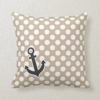 Anchor on Khaki Polka Dots Throw Pillow