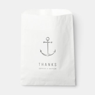 Anchor thanks with monogram beach wedding favor favour bags